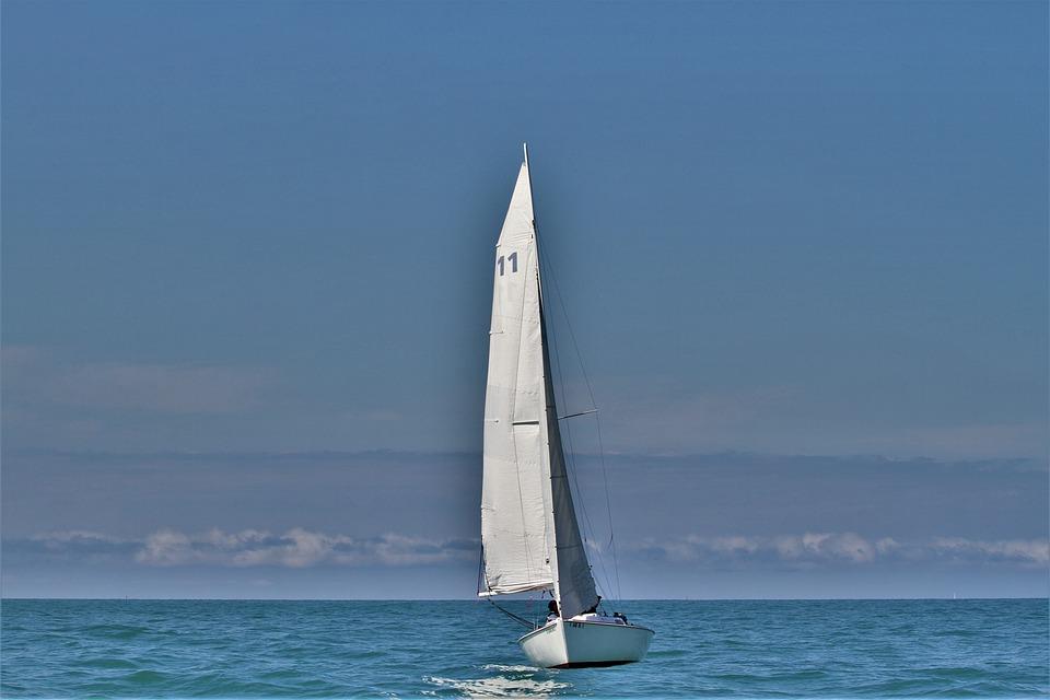 Sailboat, Sailing, On Lake Michigan, Chicago, Calm
