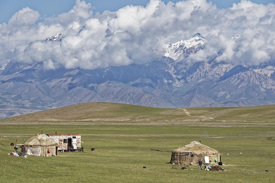 Kirgisistan, Berge, Landschaft, Natur, Wolken, Himmel