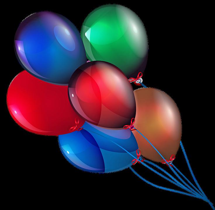 Luftballons, Bunte, Rot, Grün, Gold, Blau, Himmel