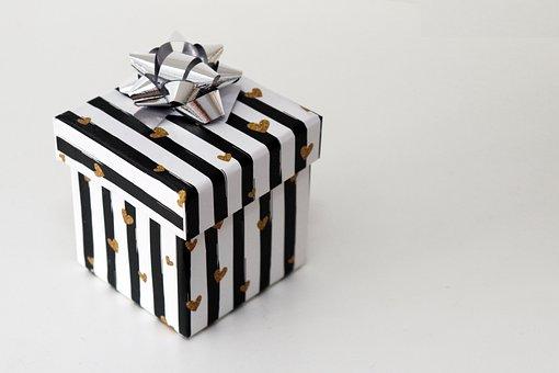 ギフト, クリスマス, 誕生日, ギフト包装, 白, 黒, ストライプ