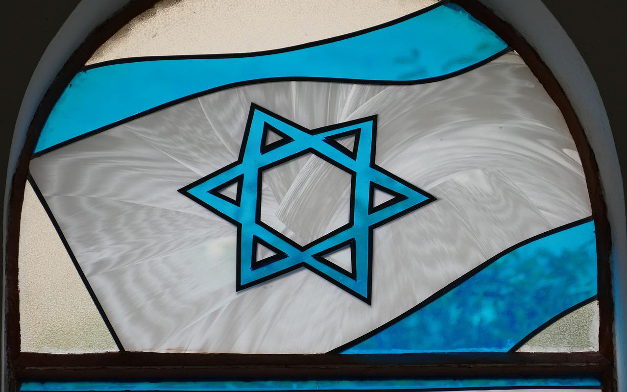 Star of David stained glass synagogue window