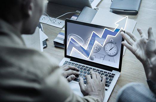 起業家, ノート パソコン, チャート, 曲線, 成功曲線, 矢印, アイデア