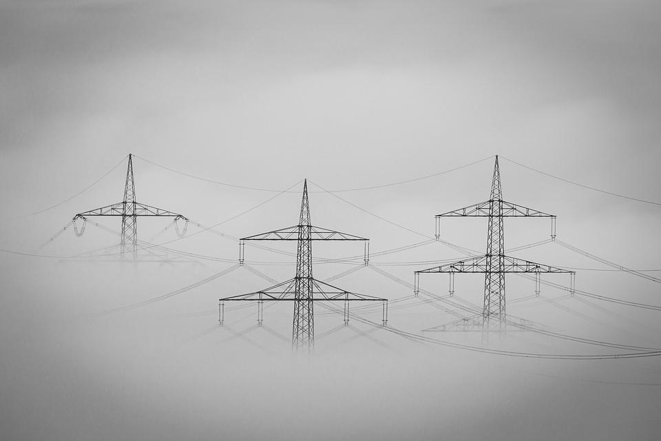 Fog, Landscape, Current, Power Poles, Haze, Mood