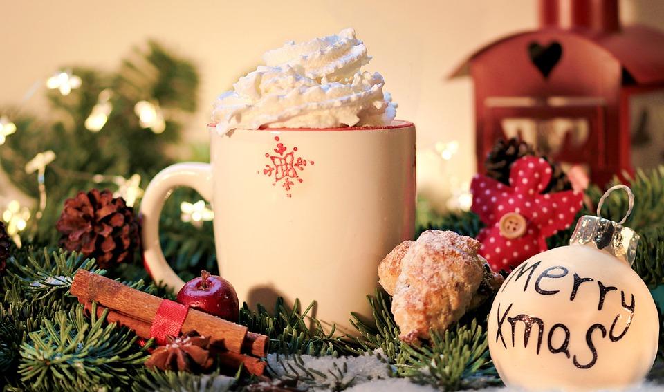 クリスマス, メリー クリスマス, ココア, ドーナツ, シナモンの棒, マツ円錐形, 気分