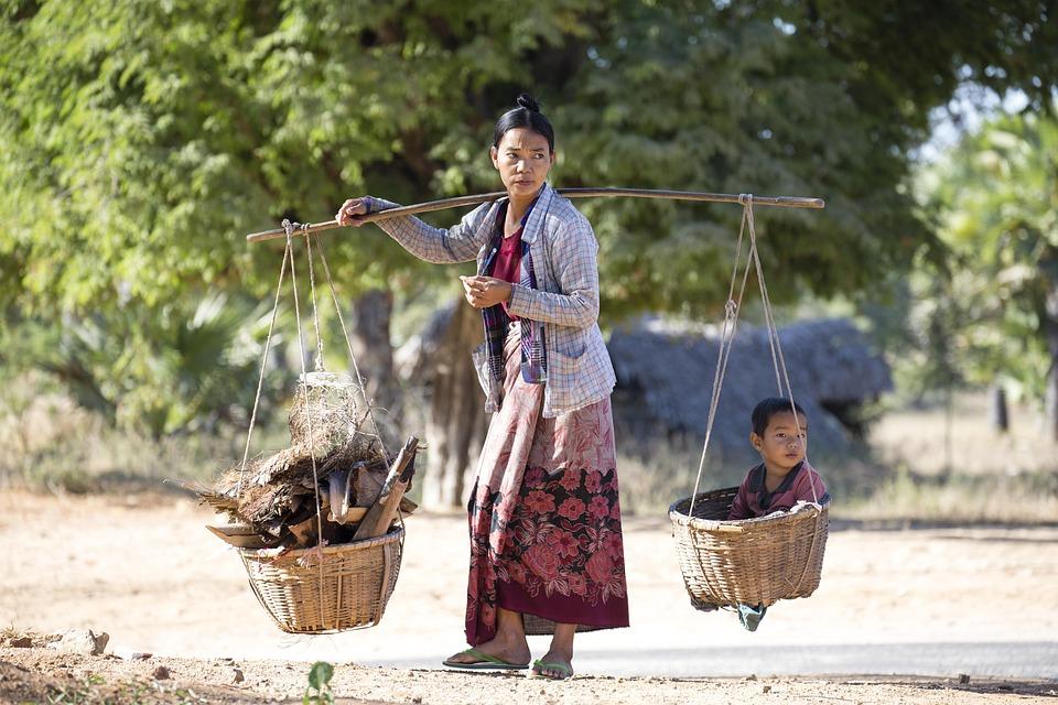 ミャンマー, 人, 貧しい, ビルマ, アジア, 屋外, 伝統的な, 女性, 文化, 田舎, 子供, 少年たち