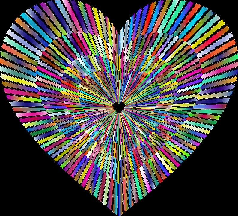 中心部, 愛, 催眠, 感情, ロマンス, ロマンチック, バレンタイン, カラフルです, プリズム