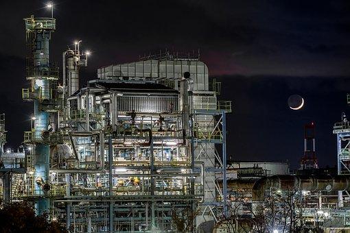 夜景, 工場, 石油関連プラント, アーキテクチャー, 機械, 三日月