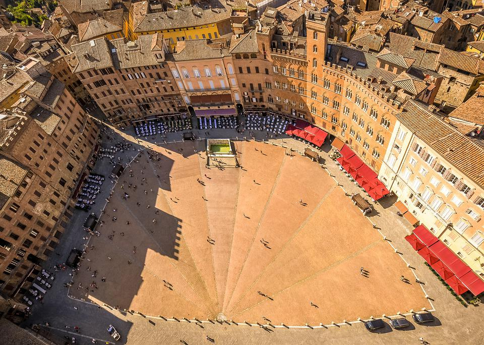 Siena, Piazza Del Campo, Historic Center, Houses