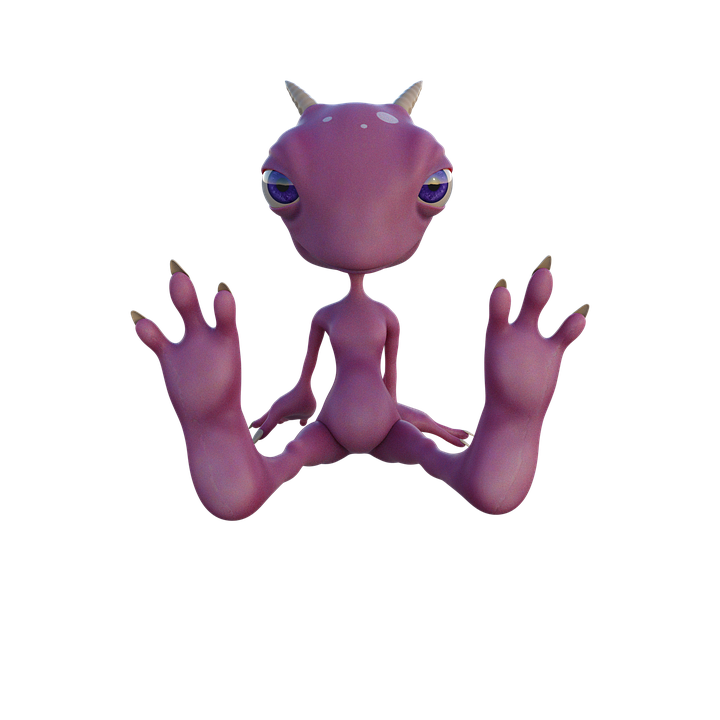 Cartoon, Alien, Character, Pink, Horns, Fantasy, Funny