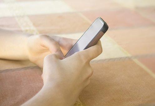 女の子, 手, テキスト メッセージ, 女性, 若いです, 学校, アップル