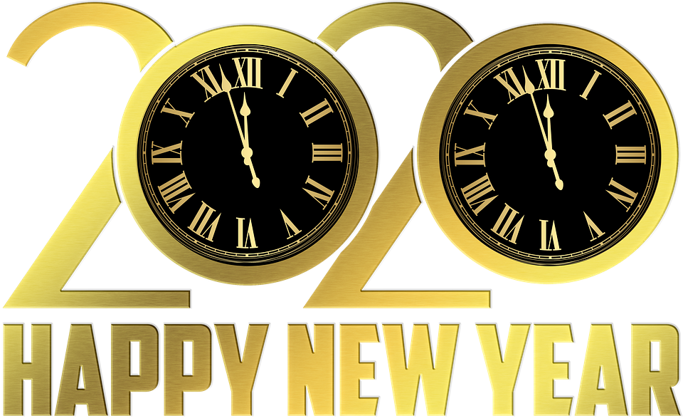 Happy New Year, New Year Clock, Gold Foil 2020, Clock