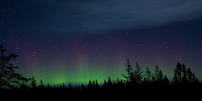 Notte, Aurora Boreale, Spazio, Paesaggio