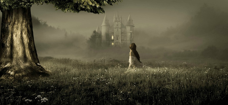 Fantasy, Meadow, Girl, Castle Tree, Landscape, Nature
