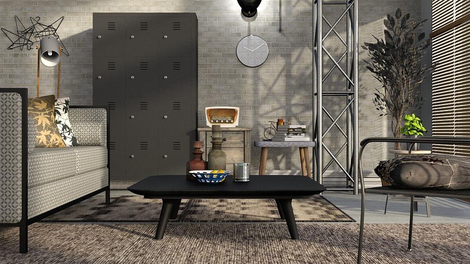 リビングルーム, グレー, キャビネット, 椅子, ソファ, 現代の, インテリア、, の提案, 部屋