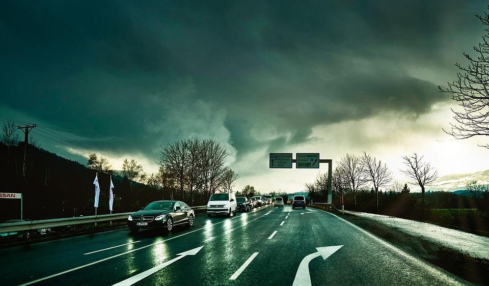 Traffic, Vehicles, Rain, Roadway, Clouds, Light, Sun