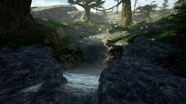 Virtuale, Paesaggio, 3D, Natura, Fiume