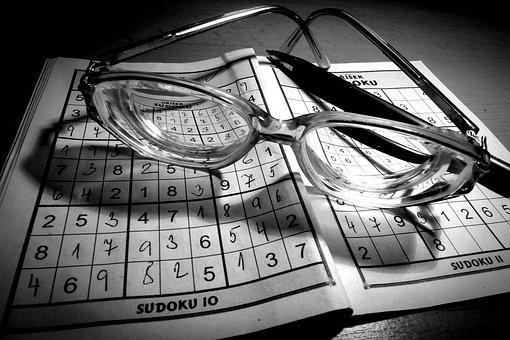 Optik, Brille, Glas, Sudoku, Bleistift