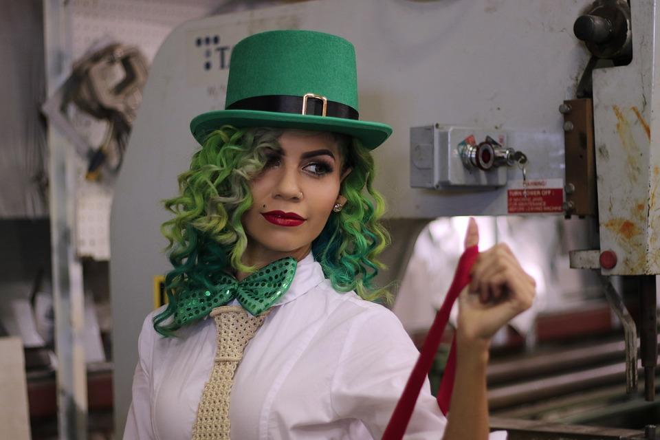 Top Hat, Зеленый, Зеленые Волосы, Эльф, Ирландский