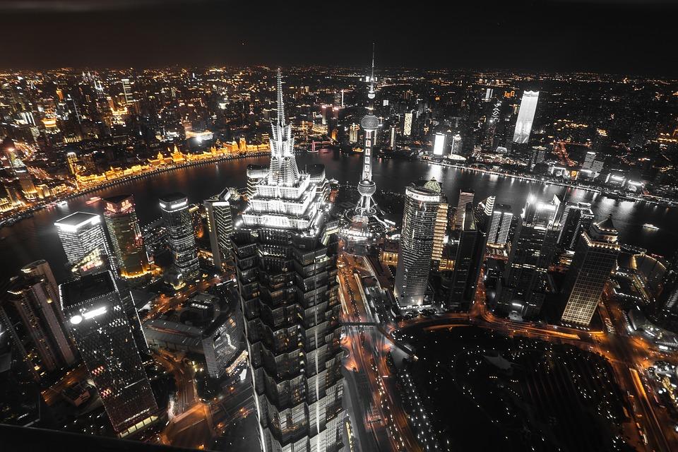 Nuit, Ville, Shanghai, Asie, East, L'Architecture