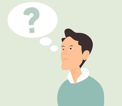 思考, 質問, 思う, 男, マーク, 漫画, 人, バブル, 混乱, 疑い