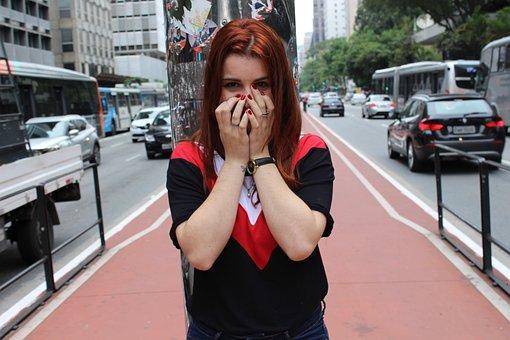 大通り, 女の子, 赤毛, 羞恥心, シャイネス, 非表示, 車を借りる