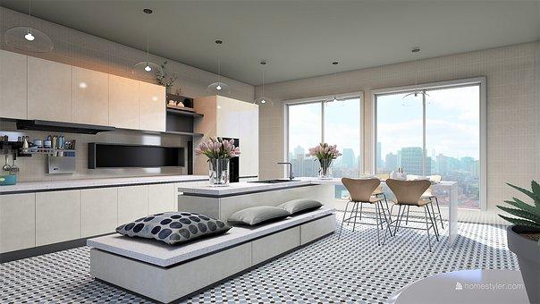 キッチン, 椅子, ウィンドウ, 家具, インテリア、, テーブル, デザイン