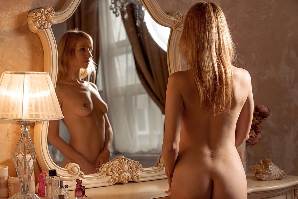 Nudo, Boudoir, Specchio, Camera Da Letto, Intimità
