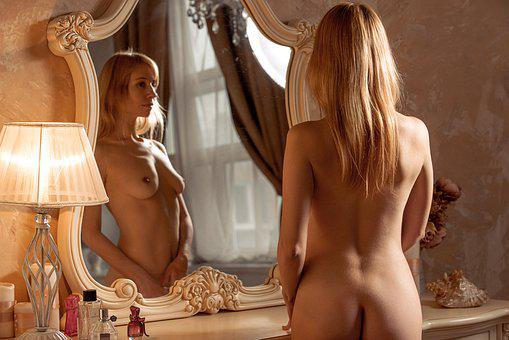 Nude, Boudoir, Naked, Mirror, Bedroom