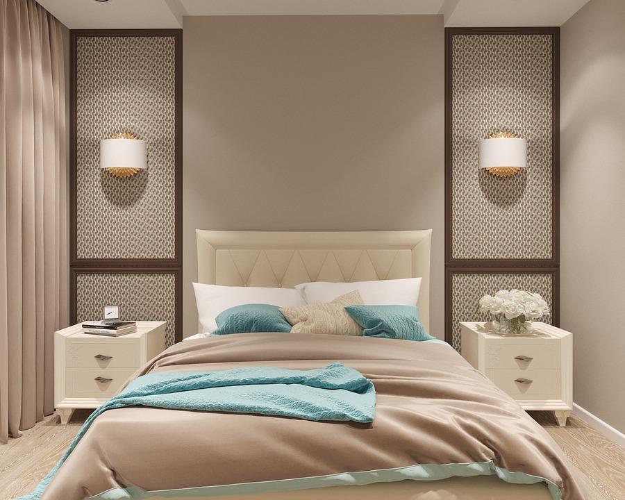 Спалня, Визуализация, Интериорен Дизайн, Легло, Мебели