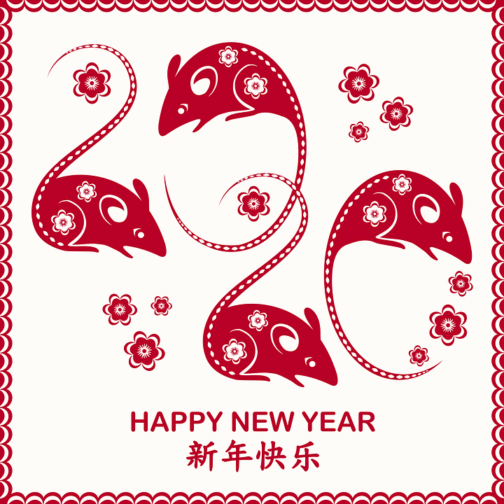 Happy, New Year, Chinese, 2020, Year, Celebrate