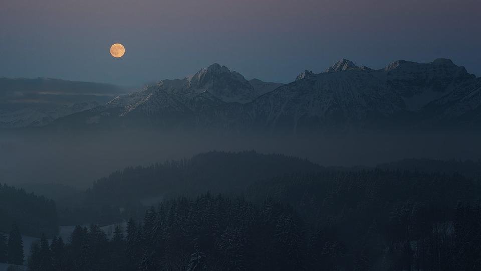 Night, Moon, Allgäu, Mountains, Alpine, Landscape