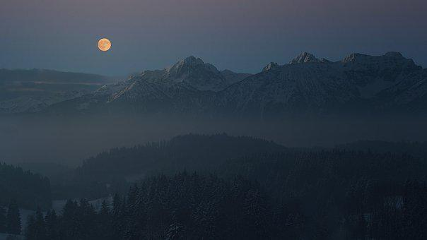 Night, Moon, Allgäu, Mountains, Alpine
