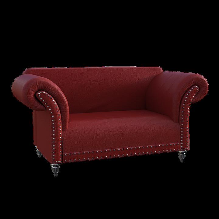 Диван, Червено, Кожа, Нитове, Седя, Седалка, Мебели, 3D