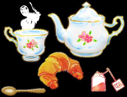 Watercolor Tea, Tea Pot, Tea Cup
