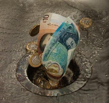 Down The Drain, Money, Waste, Sink