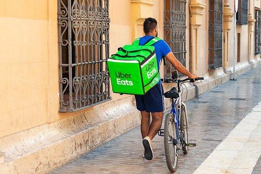 Uberが食べ, 配信, 宅配便, 小包, ボックス, サービス, 提供します