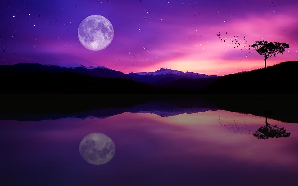 Landscape, Reflection, Lake, Mountains, Dusk, Full Moon