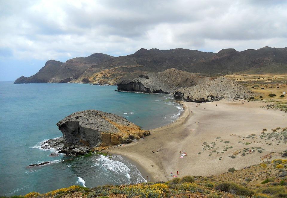 Cabo De Gata, Playa, Mar, Olas, Desierto, Nubes, Azul