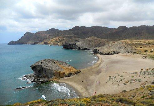Cabo De Gata, Playa, Mar, Olas, Desierto