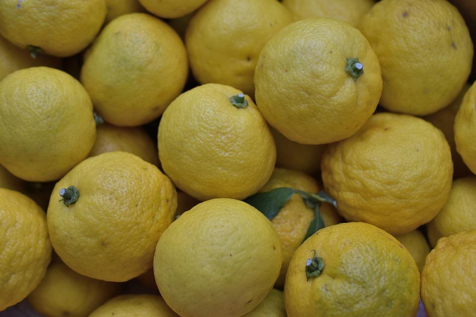 柑橘類, 黄色, フルーツ, 健康, 食品, ジューシーです, 新鮮な, ビタミン, 自然, 日本, ゆず