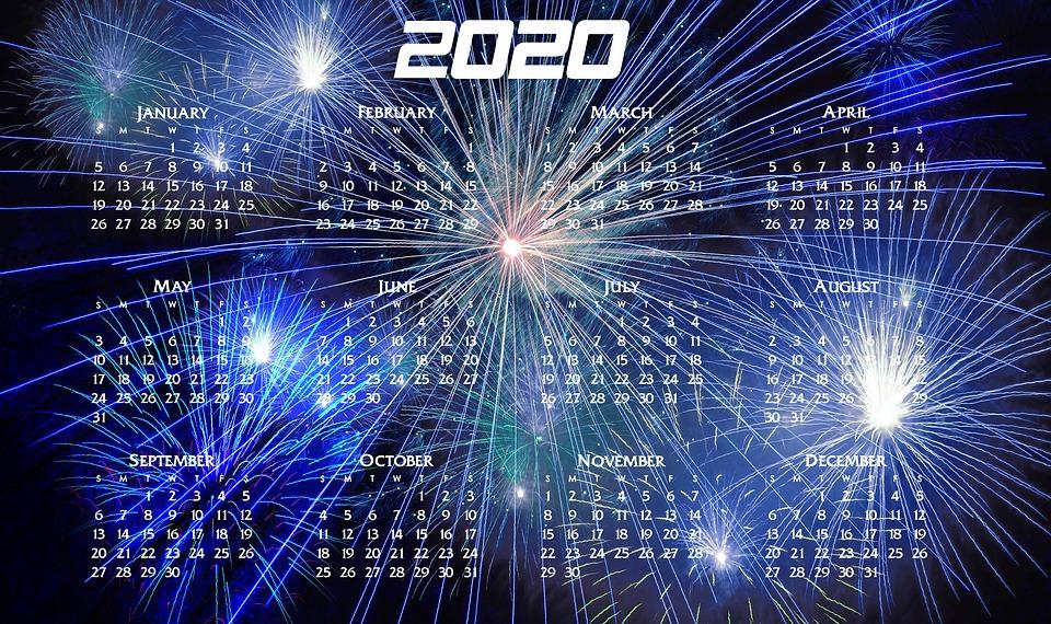 Neujahr, Jahr, Kalender, Feuerwerk, Neujahrsgrüße, 2020