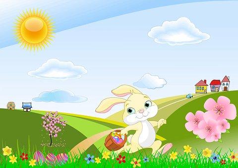 Easter, Spring, Landscape, Easter Bunny
