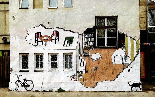 畫藝術壁, 戶外, 街, 胡同, 圖, 藝術, 漆, 墻, 城市, 旅行, 結構
