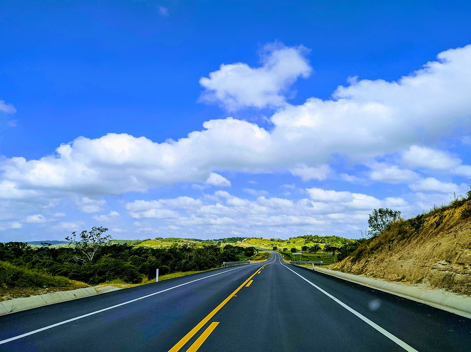 Road, Travel, Sky, Blue, Clouds