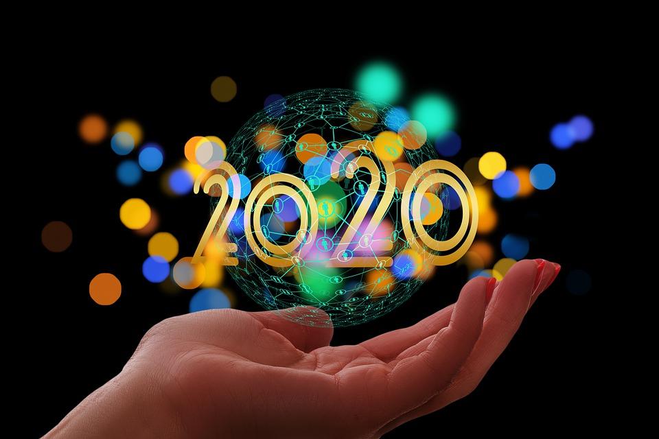 新年の日, ネットワーク, 2020, デジタル, 手, ウェブ, コミュニティ, インターフェイス