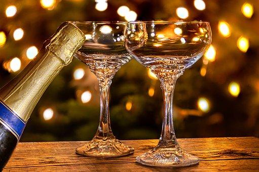 Champagneglass, Flaske Musserende Vin