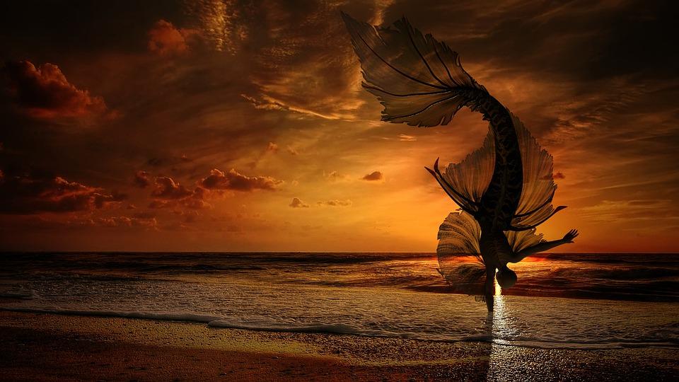 Γοργόνα Θάλασσα Ηλιοβασίλεμα - Δωρεάν εικόνα στο Pixabay