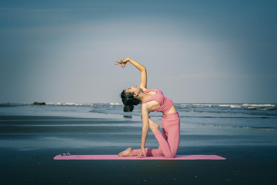 Yoga, Sport, Sea, Sky, Girl, Beautiful