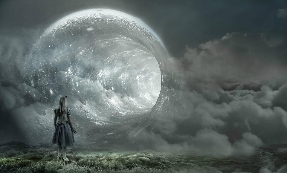 ファンタジー, ワームの穴, 女の子, 雲, 宇宙, シュトルーデル, 時間