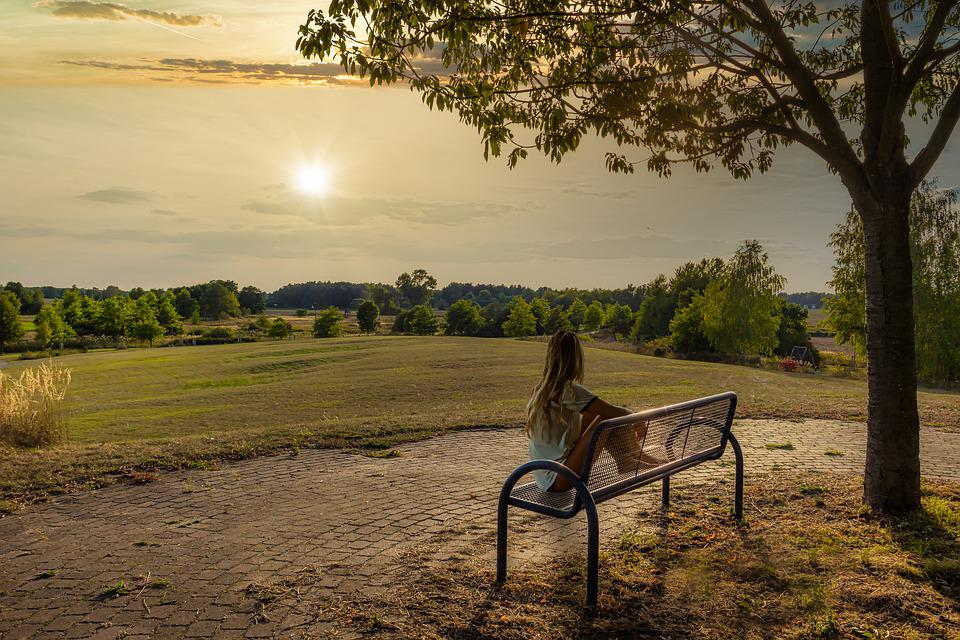 Sunset, Girl, Dreams, Recovery, Meadow, Tree, Bank, Sit